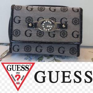 Fold up guess monogram black and grey wallet